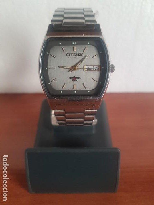 Relojes - Citizen: Reloj caballero (Vintage) CITIZEN automático 21 rubis con doble calendario, correa acero original - Foto 2 - 191196550