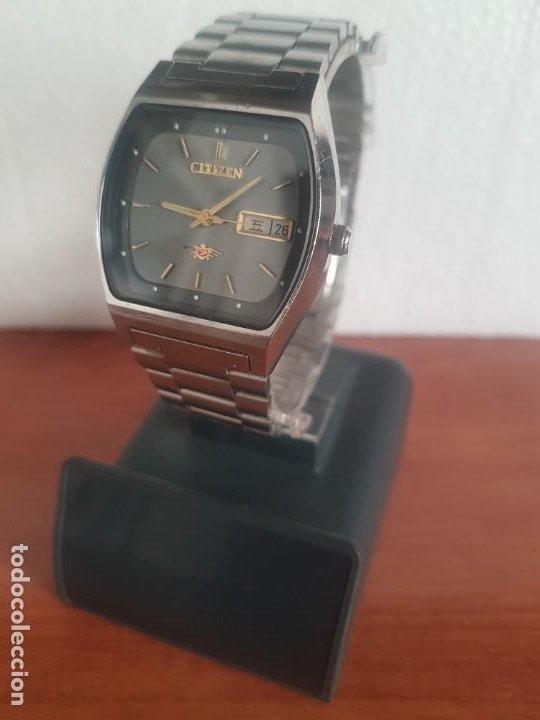 Relojes - Citizen: Reloj caballero (Vintage) CITIZEN automático 21 rubis con doble calendario, correa acero original - Foto 4 - 191196550