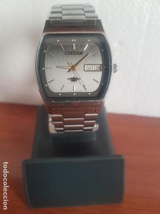 Relojes - Citizen: Reloj caballero (Vintage) CITIZEN automático 21 rubis con doble calendario, correa acero original - Foto 12 - 191196550