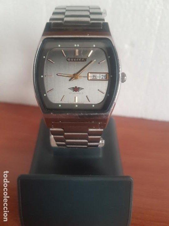 Relojes - Citizen: Reloj caballero (Vintage) CITIZEN automático 21 rubis con doble calendario, correa acero original - Foto 16 - 191196550