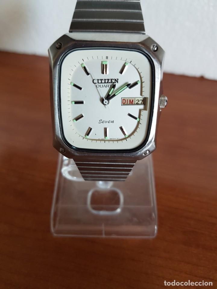 Relojes - Citizen: Reloj CITIZEN de cuarzo en acero con doble calendario, esfera blanca, correa acero original CITIZEN. - Foto 6 - 202652791