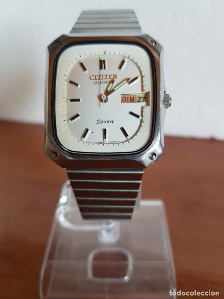 Relojes - Citizen: Reloj CITIZEN de cuarzo en acero con doble calendario, esfera blanca, correa acero original CITIZEN. - Foto 8 - 202652791
