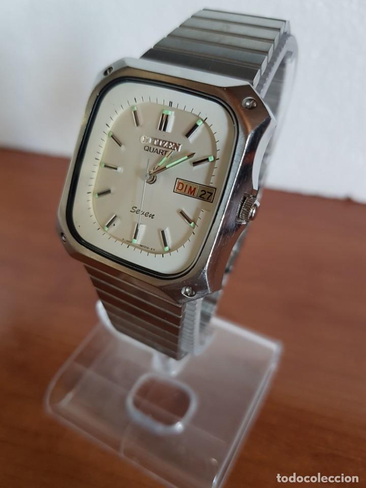Relojes - Citizen: Reloj CITIZEN de cuarzo en acero con doble calendario, esfera blanca, correa acero original CITIZEN. - Foto 10 - 202652791