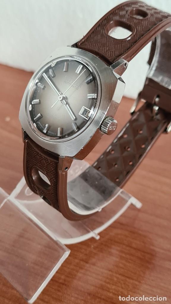 Relojes - Citizen: Reloj caballero, unisex (Vintage) CITIZEN automático 21 rubís con calendario, correa silicona marrón - Foto 4 - 242898760