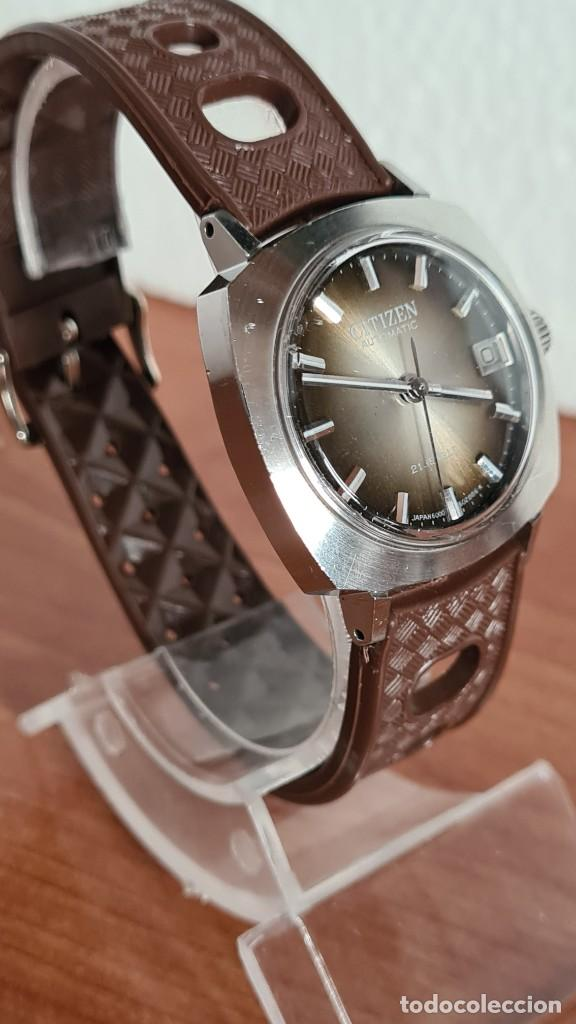 Relojes - Citizen: Reloj caballero, unisex (Vintage) CITIZEN automático 21 rubís con calendario, correa silicona marrón - Foto 5 - 242898760