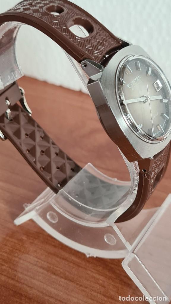 Relojes - Citizen: Reloj caballero, unisex (Vintage) CITIZEN automático 21 rubís con calendario, correa silicona marrón - Foto 7 - 242898760