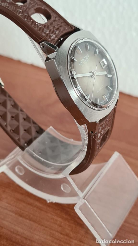 Relojes - Citizen: Reloj caballero, unisex (Vintage) CITIZEN automático 21 rubís con calendario, correa silicona marrón - Foto 9 - 242898760