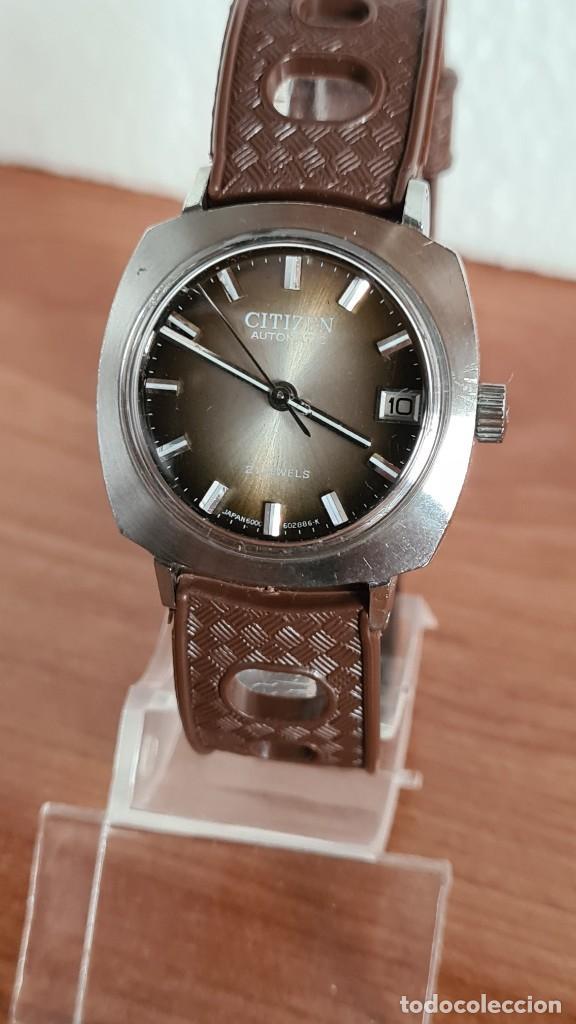 Relojes - Citizen: Reloj caballero, unisex (Vintage) CITIZEN automático 21 rubís con calendario, correa silicona marrón - Foto 10 - 242898760