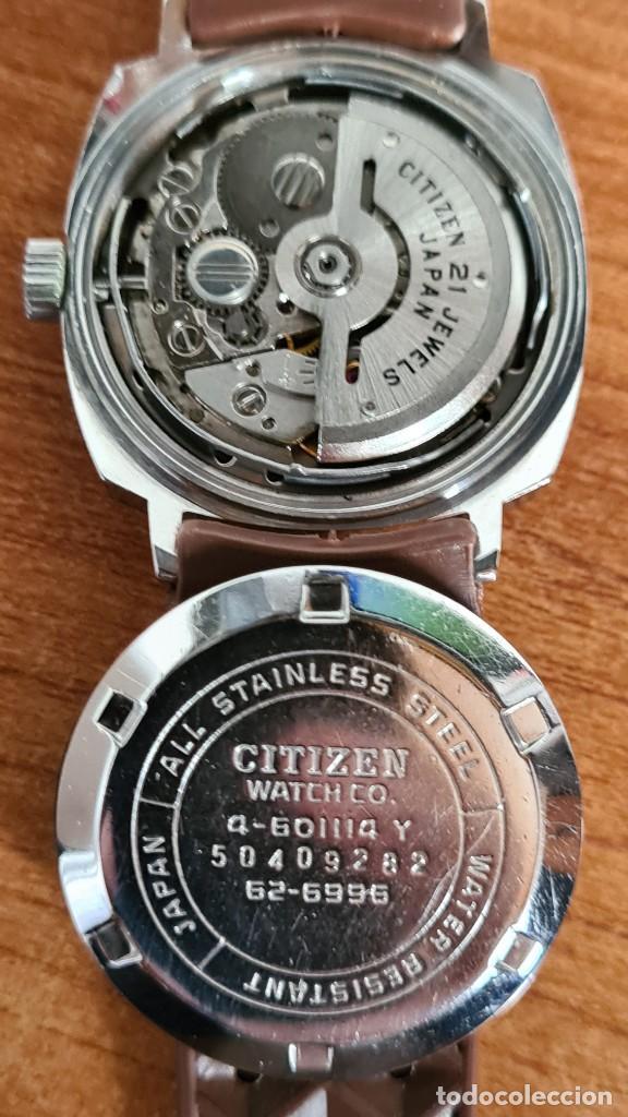 Relojes - Citizen: Reloj caballero, unisex (Vintage) CITIZEN automático 21 rubís con calendario, correa silicona marrón - Foto 13 - 242898760