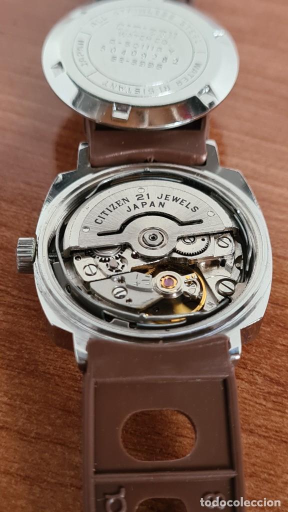 Relojes - Citizen: Reloj caballero, unisex (Vintage) CITIZEN automático 21 rubís con calendario, correa silicona marrón - Foto 17 - 242898760