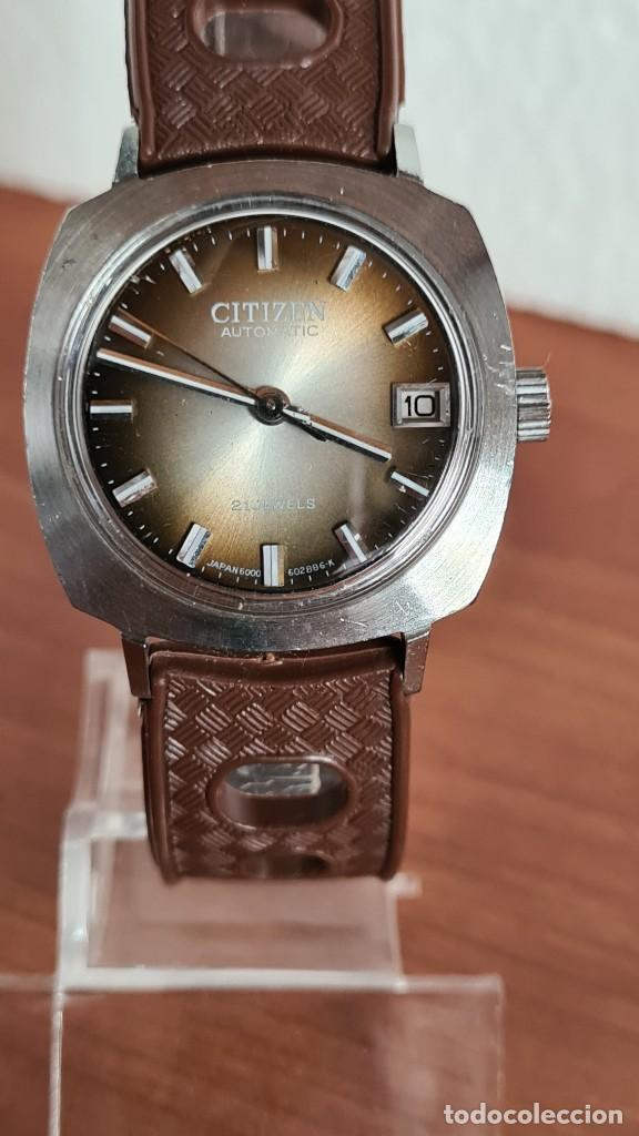 Relojes - Citizen: Reloj caballero, unisex (Vintage) CITIZEN automático 21 rubís con calendario, correa silicona marrón - Foto 18 - 242898760