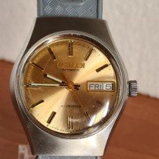 Relojes - Citizen: RELOJ UNISEX (VINTAGE) CITIZEN ACERO AUTOMÁTICO 21 RUBÍS CON DOBLE CALENDARIO, CORREA SILICONA GRIS.. Lote 242960155