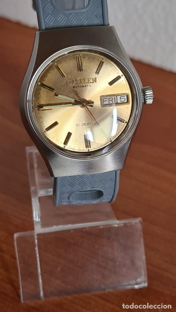 Relojes - Citizen: Reloj unisex (Vintage) CITIZEN acero automático 21 rubís con doble calendario, correa silicona gris. - Foto 3 - 242960155