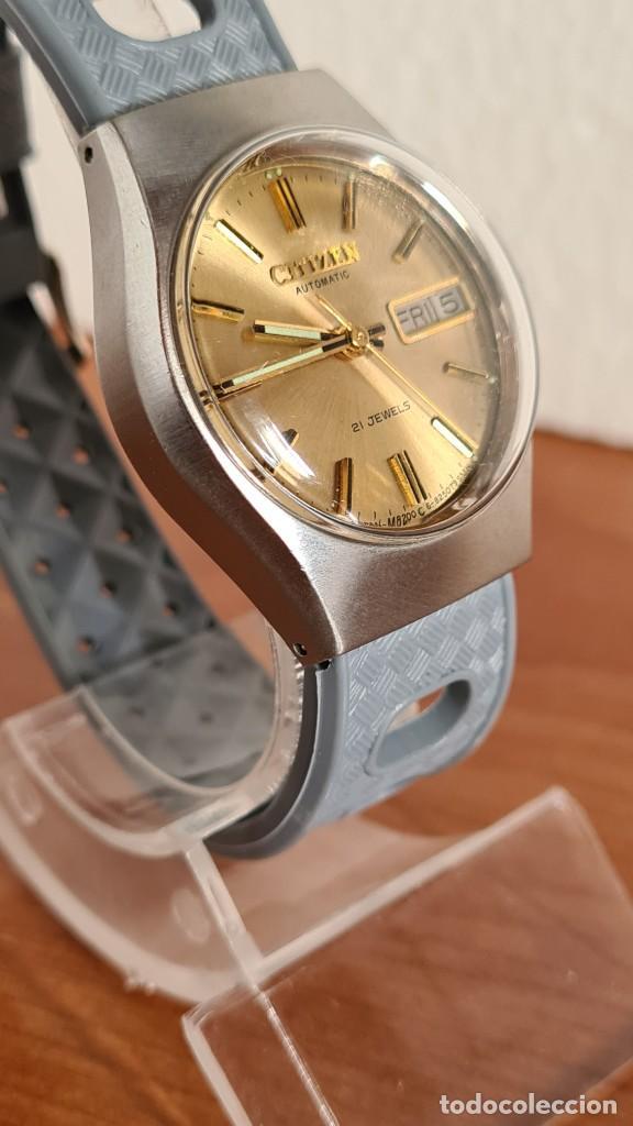 Relojes - Citizen: Reloj unisex (Vintage) CITIZEN acero automático 21 rubís con doble calendario, correa silicona gris. - Foto 5 - 242960155