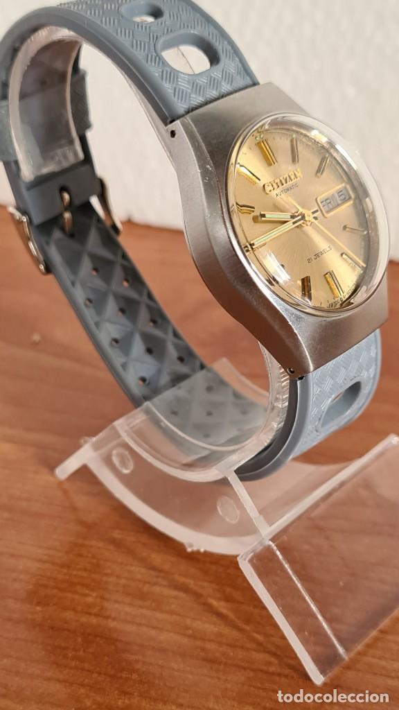 Relojes - Citizen: Reloj unisex (Vintage) CITIZEN acero automático 21 rubís con doble calendario, correa silicona gris. - Foto 7 - 242960155