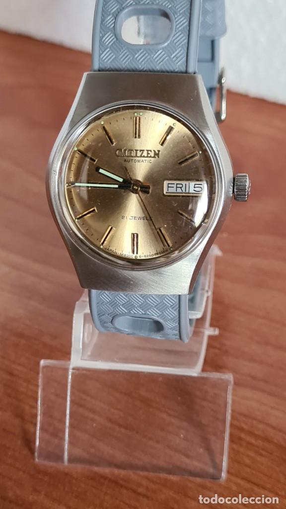 Relojes - Citizen: Reloj unisex (Vintage) CITIZEN acero automático 21 rubís con doble calendario, correa silicona gris. - Foto 8 - 242960155