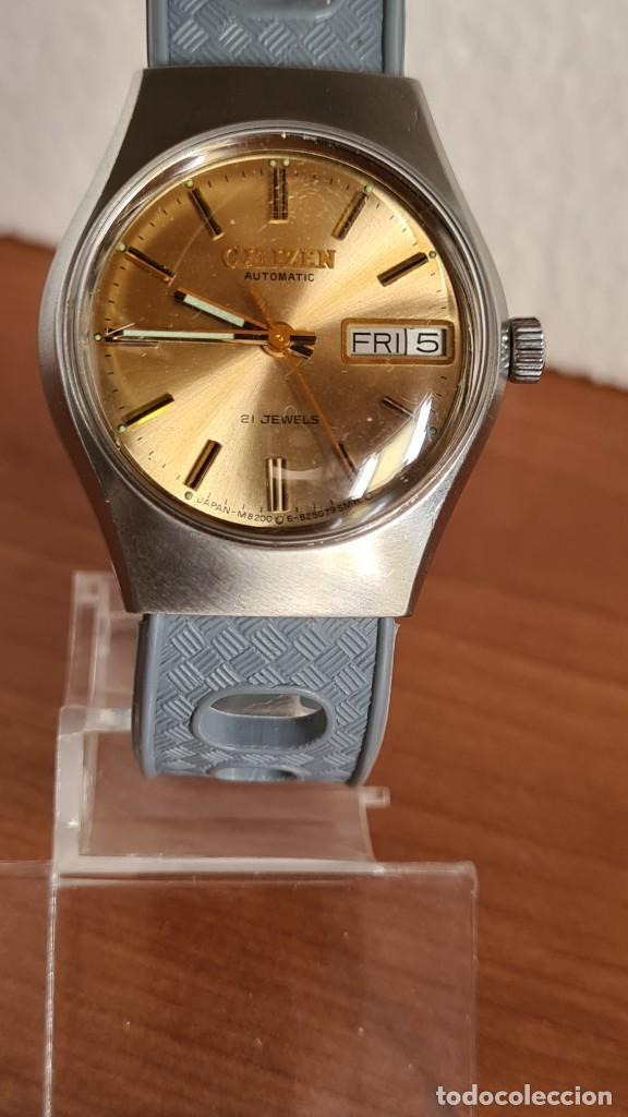Relojes - Citizen: Reloj unisex (Vintage) CITIZEN acero automático 21 rubís con doble calendario, correa silicona gris. - Foto 9 - 242960155