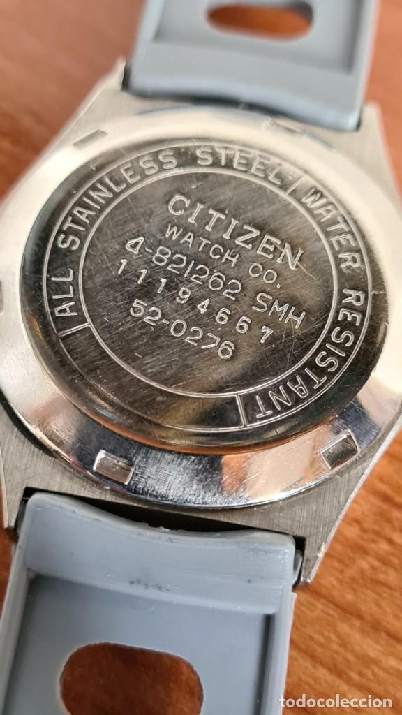 Relojes - Citizen: Reloj unisex (Vintage) CITIZEN acero automático 21 rubís con doble calendario, correa silicona gris. - Foto 10 - 242960155