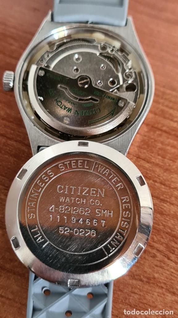 Relojes - Citizen: Reloj unisex (Vintage) CITIZEN acero automático 21 rubís con doble calendario, correa silicona gris. - Foto 12 - 242960155