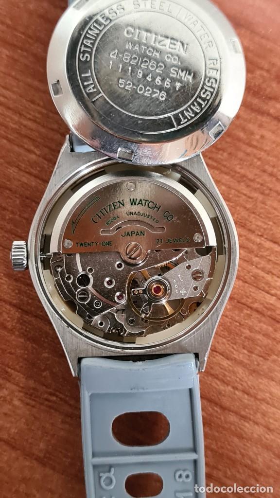 Relojes - Citizen: Reloj unisex (Vintage) CITIZEN acero automático 21 rubís con doble calendario, correa silicona gris. - Foto 17 - 242960155