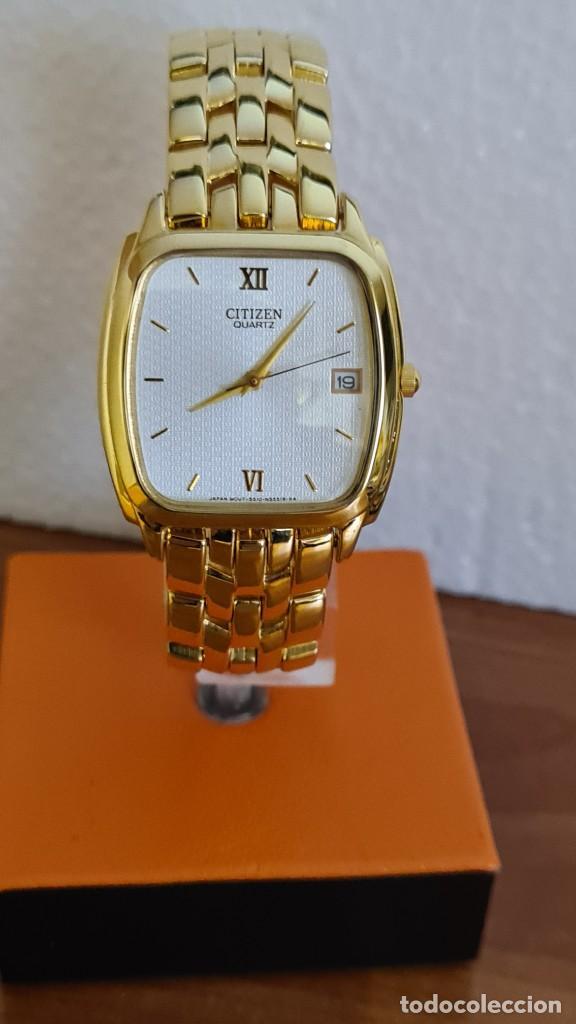 RELOJ UNISEX (VINTAGE) CITIZEN CUARZO CHAPADO DE ORO, ESFERA BLANCA, CALENDARIO LAS TRES, CORREA ORI (Relojes - Relojes Actuales - Citizen)