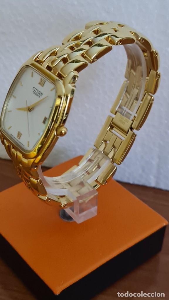 Relojes - Citizen: Reloj unisex (Vintage) CITIZEN cuarzo chapado de oro, esfera blanca, calendario las tres, correa ori - Foto 2 - 243259880