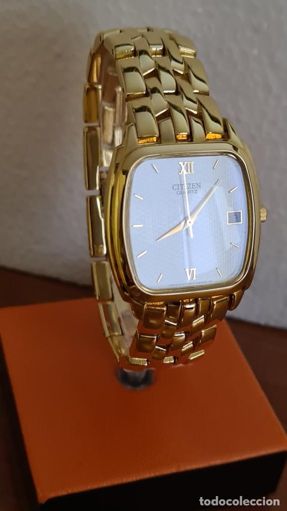 Relojes - Citizen: Reloj unisex (Vintage) CITIZEN cuarzo chapado de oro, esfera blanca, calendario las tres, correa ori - Foto 3 - 243259880