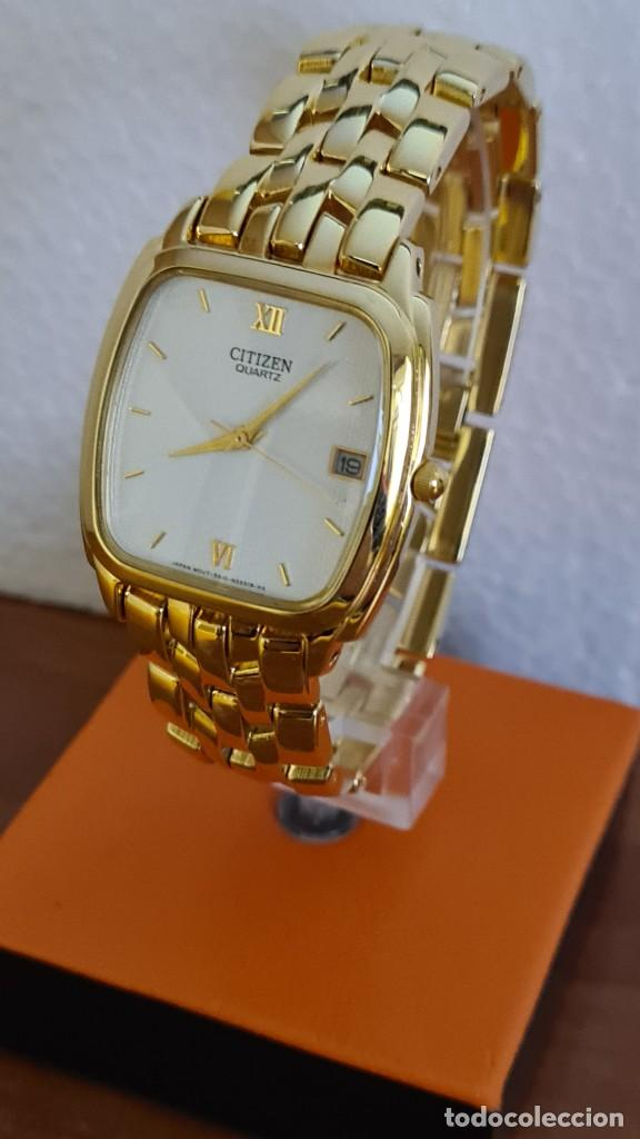 Relojes - Citizen: Reloj unisex (Vintage) CITIZEN cuarzo chapado de oro, esfera blanca, calendario las tres, correa ori - Foto 4 - 243259880