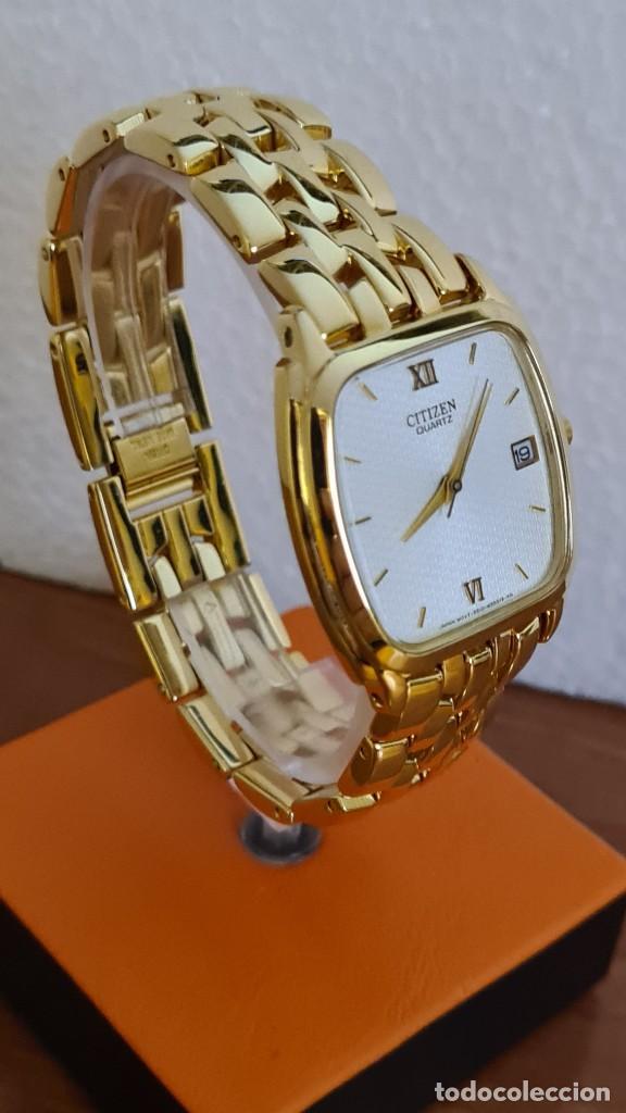 Relojes - Citizen: Reloj unisex (Vintage) CITIZEN cuarzo chapado de oro, esfera blanca, calendario las tres, correa ori - Foto 5 - 243259880