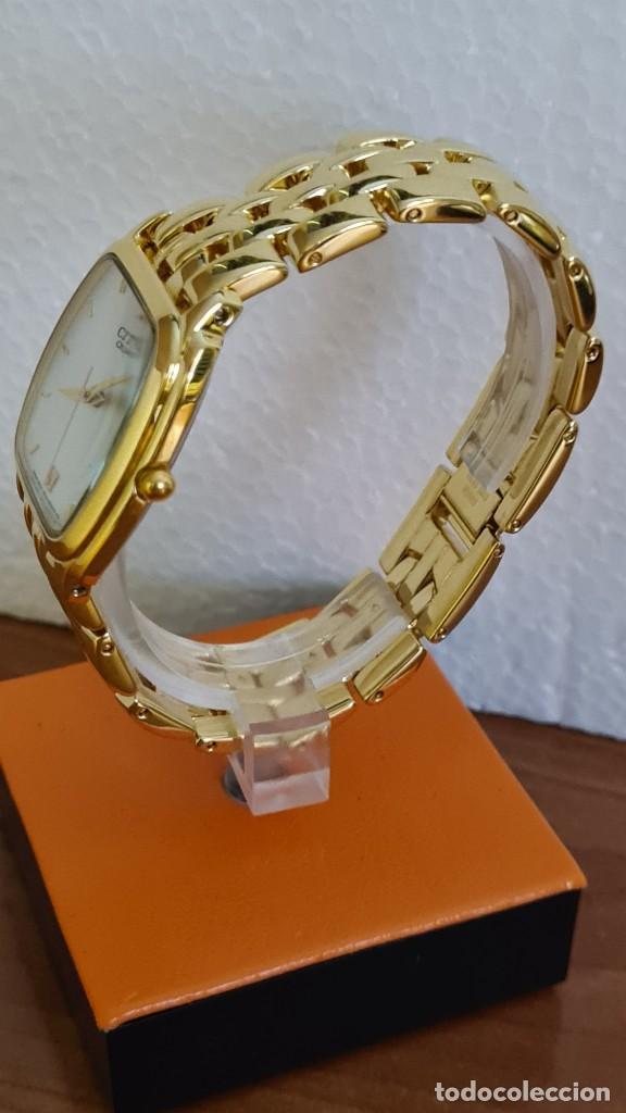 Relojes - Citizen: Reloj unisex (Vintage) CITIZEN cuarzo chapado de oro, esfera blanca, calendario las tres, correa ori - Foto 8 - 243259880
