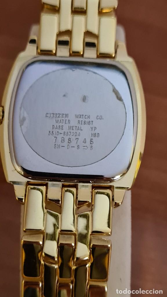 Relojes - Citizen: Reloj unisex (Vintage) CITIZEN cuarzo chapado de oro, esfera blanca, calendario las tres, correa ori - Foto 11 - 243259880