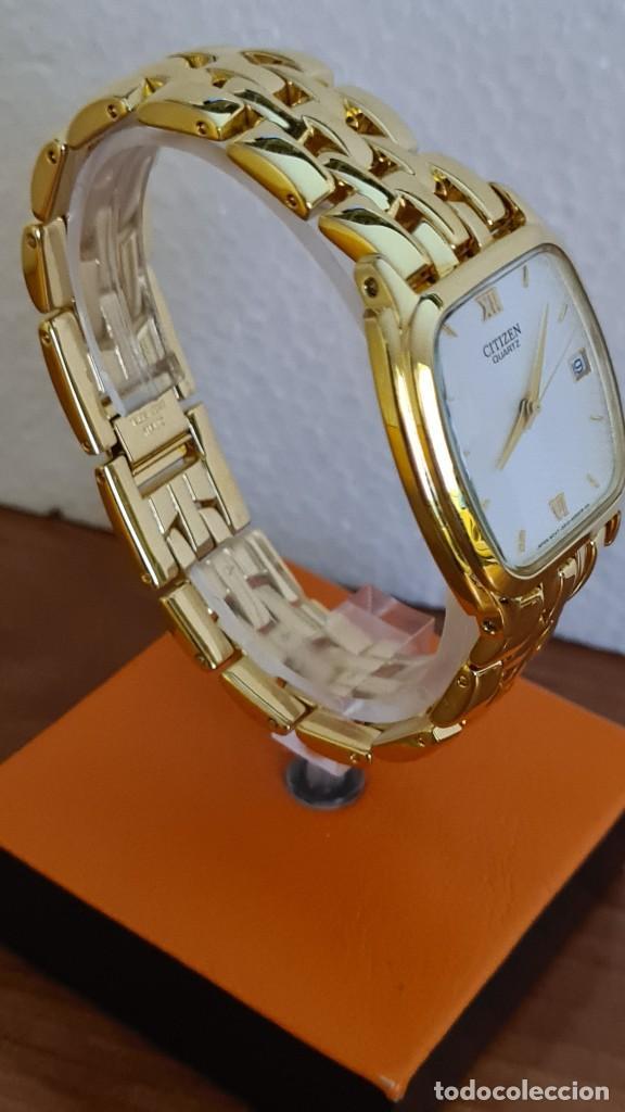 Relojes - Citizen: Reloj unisex (Vintage) CITIZEN cuarzo chapado de oro, esfera blanca, calendario las tres, correa ori - Foto 12 - 243259880
