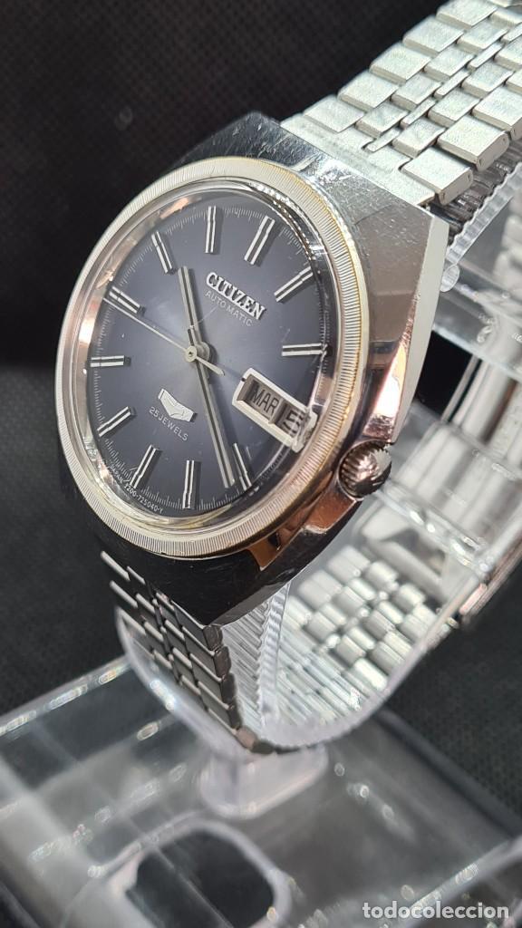 Relojes - Citizen: Reloj caballero (Vintage) CITIZEN automatico 25 rubis, esfera azul, calendario las tres, 67-4273. - Foto 3 - 247674375