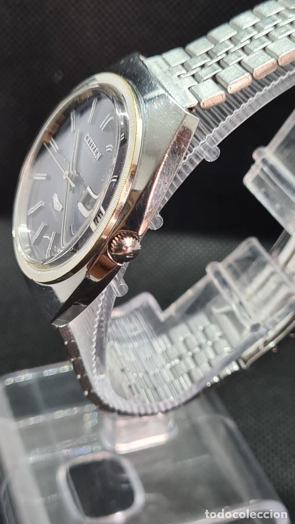 Relojes - Citizen: Reloj caballero (Vintage) CITIZEN automatico 25 rubis, esfera azul, calendario las tres, 67-4273. - Foto 5 - 247674375