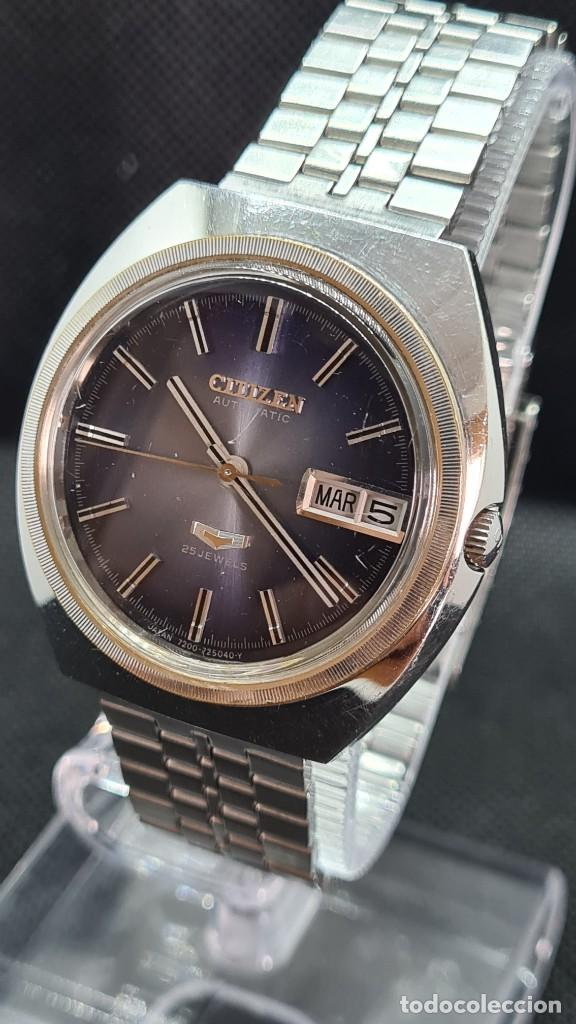 Relojes - Citizen: Reloj caballero (Vintage) CITIZEN automatico 25 rubis, esfera azul, calendario las tres, 67-4273. - Foto 10 - 247674375