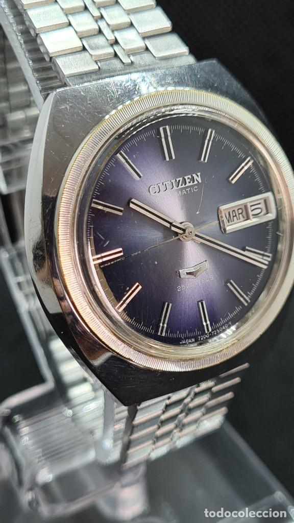 Relojes - Citizen: Reloj caballero (Vintage) CITIZEN automatico 25 rubis, esfera azul, calendario las tres, 67-4273. - Foto 12 - 247674375