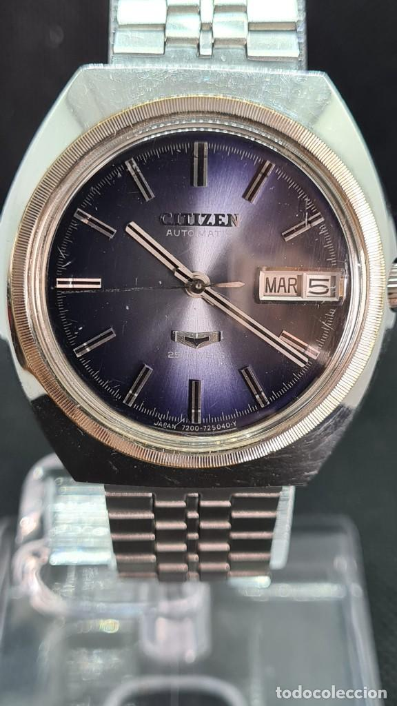 Relojes - Citizen: Reloj caballero (Vintage) CITIZEN automatico 25 rubis, esfera azul, calendario las tres, 67-4273. - Foto 14 - 247674375
