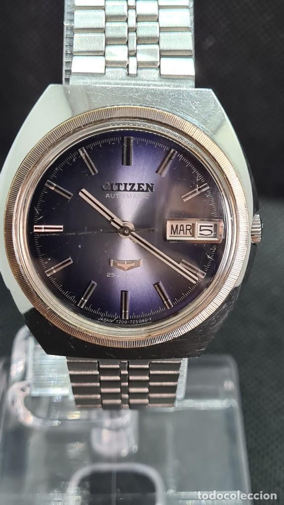Relojes - Citizen: Reloj caballero (Vintage) CITIZEN automatico 25 rubis, esfera azul, calendario las tres, 67-4273. - Foto 18 - 247674375
