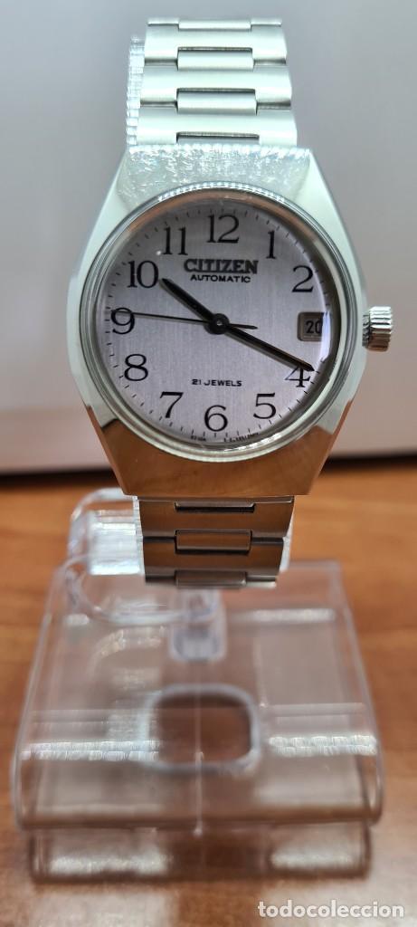 RELOJ CABALLERO (VINTAGE) CITIZEN ACERO AUTOMÁTICO CON CALENDARIO A LAS TRES HORAS, CORREA DE ACERO. (Relojes - Relojes Actuales - Citizen)