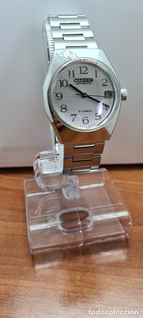 Relojes - Citizen: Reloj caballero (Vintage) CITIZEN acero automático con calendario a las tres horas, correa de acero. - Foto 3 - 253786730