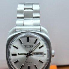 Relojes - Citizen: RELOJ CABALLERO (VINTAGE) CITIZEN AUTOMÁTICO ACERO CON DOBLE CALENDARIO A LAS TRES, CORREA DE ACERO. Lote 255411350