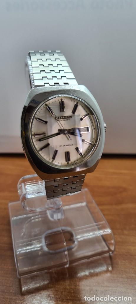 Relojes - Citizen: Reloj caballero (Vintage) CITIZEN automático acero con doble calendario a las tres, correa de acero - Foto 3 - 255505015