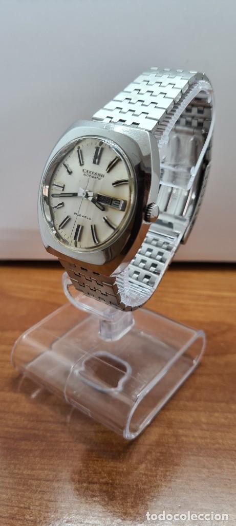 Relojes - Citizen: Reloj caballero (Vintage) CITIZEN automático acero con doble calendario a las tres, correa de acero - Foto 4 - 255505015