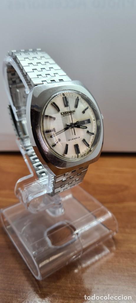 Relojes - Citizen: Reloj caballero (Vintage) CITIZEN automático acero con doble calendario a las tres, correa de acero - Foto 5 - 255505015