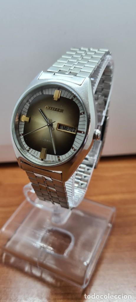 Relojes - Citizen: Reloj caballero (Vintage) CITIZEN automático acero con doble calendario a las tres, correa de acero - Foto 2 - 258020015
