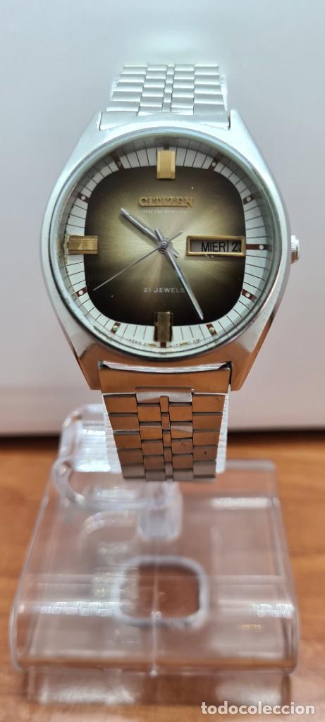 Relojes - Citizen: Reloj caballero (Vintage) CITIZEN automático acero con doble calendario a las tres, correa de acero - Foto 3 - 258020015