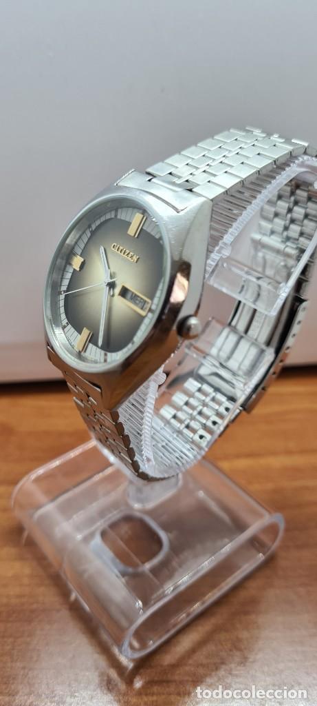 Relojes - Citizen: Reloj caballero (Vintage) CITIZEN automático acero con doble calendario a las tres, correa de acero - Foto 4 - 258020015