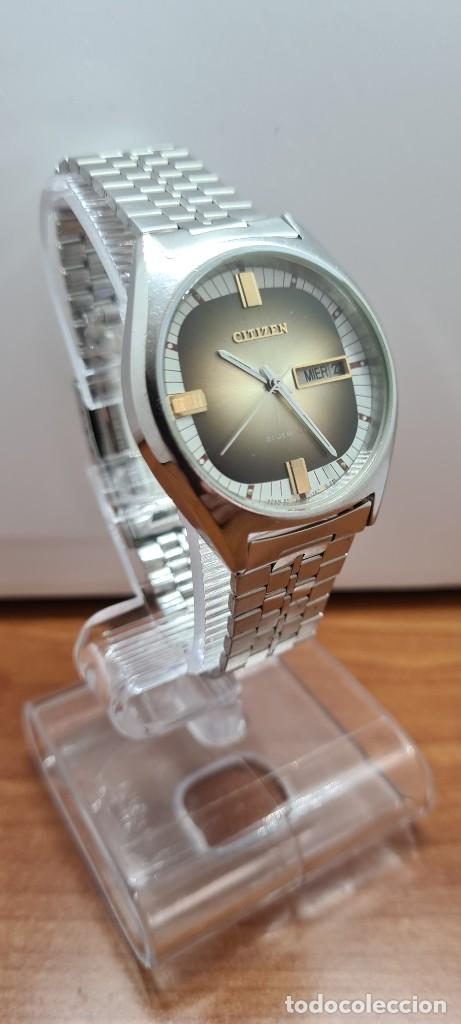 Relojes - Citizen: Reloj caballero (Vintage) CITIZEN automático acero con doble calendario a las tres, correa de acero - Foto 5 - 258020015