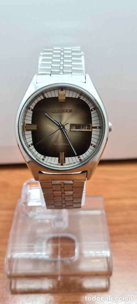 Relojes - Citizen: Reloj caballero (Vintage) CITIZEN automático acero con doble calendario a las tres, correa de acero - Foto 12 - 258020015