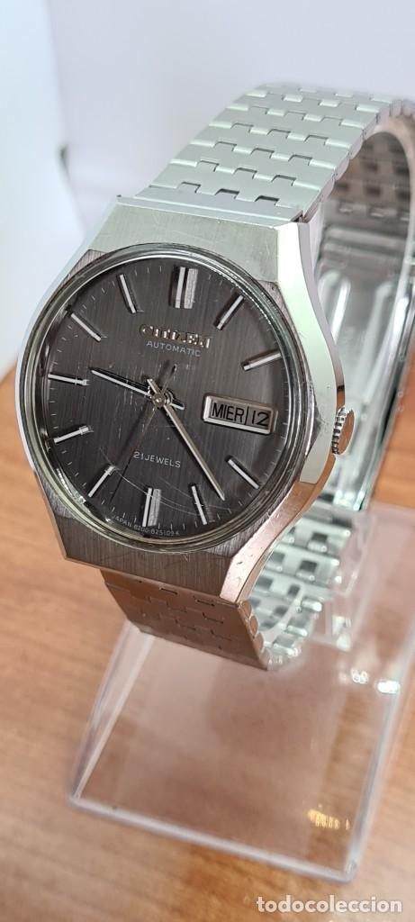 Relojes - Citizen: Reloj caballero (Vintage) CITIZEN automático acero con doble calendario a las tres, correa de acero - Foto 2 - 279441048
